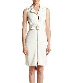 Calvin Klein Zip Front Belt Ponte Sheath Dress