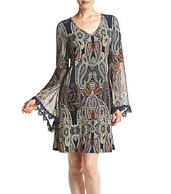 Prelude® Bell Sleeve Knit Woven Shift Dress