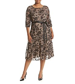 S.L. Fashions Plus Size Lace Print Fit And Flare Dress