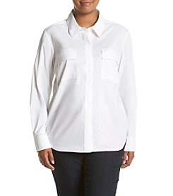Jones New York® Plus Size Crisp Button Front Top