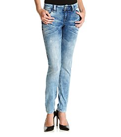 Crave Fame® Marbled Wash Embroidered Pocket Skinny Jeans