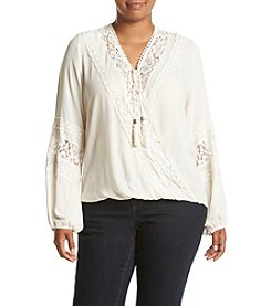 Skylar & Jade™ Plus Size Lace Wrap Front Peasant Top