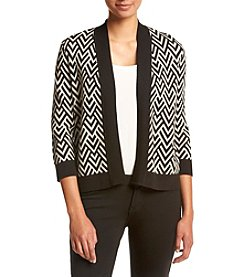 Kasper® Geometric Cardigan Sweater
