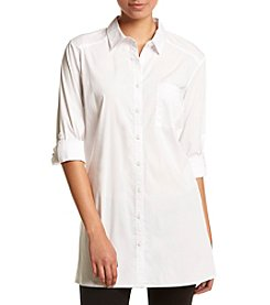 August Silk® Classic Button Front Shirt