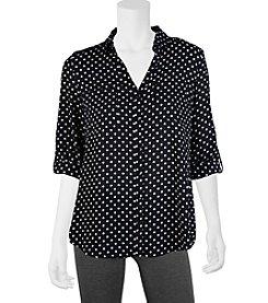A. Byer Roll Tab Dot Printed Utility Shirt