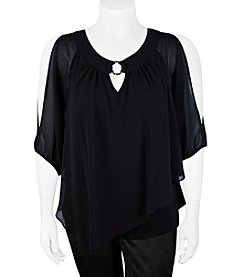A. Byer Plus Size Ring Neck Cold Shoulder Top