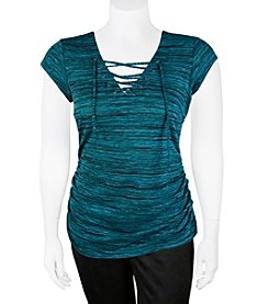 A. Byer Plus Size Lace Up V-Neck Cap Sleeve Top