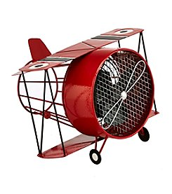 Deco Breeze Biplane Figurine Fan