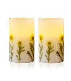 Order Home Collection® 2-pc. LED Dried Yellow Flower Candles