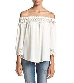 Jolt® Three-Quarter Sleeve Crochet Neck Off Shoulder Top