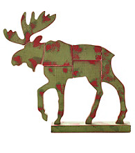 LivingQuarters Rustic Lodge Collection Wood Moose