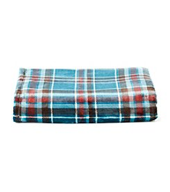 LivingQuarters Royal Plaid Plush Throw