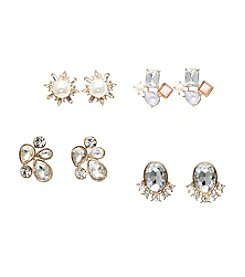 Relativity® Four Pairs Of Goldtone Earrings