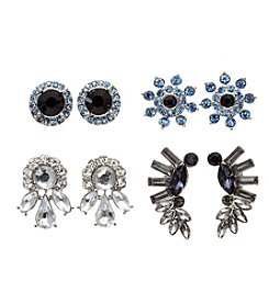 Relativity® Four Pairs of Silvertone Earrings