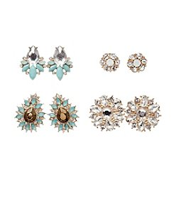 Relativity® Four Pairs of Goldtone and Crystal Earrings