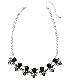 Relativity® Silvertone Black Crystal Statement Necklace