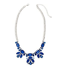 Relativity® Goldtone Blue Crystal Statement Necklace