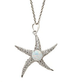 Sterling Silver Cubic Zirconia And Opal Starfish Pendant Necklace