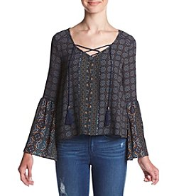 Skylar & Jade™ Long Sleeve Printed Lace-Up Peasant Top