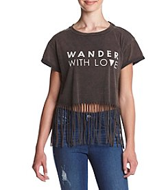 Skylar & Jade™ Short Sleeve Fringe Wander With Love Tee