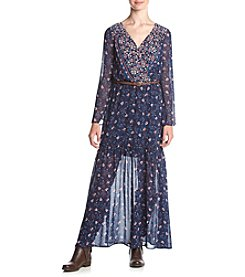Living Doll® Long Sleeve Border Print Maxi Dress
