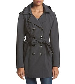 A. Byer Double-Breasted Softshell Belted Trench Coat with Detachable Hood