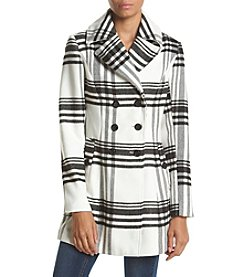 A. Byer Double Breasted Plaid Faux Wool Coat