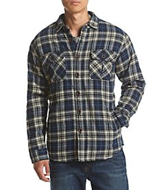 Ruff Hewn Men's Plaid Flannel Sherpa Lined Button Down Jacket