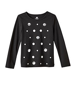 Mix & Match Girls' 2T-6X Long Sleeve Sequin Polka Dot Tee