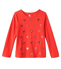 Mix & Match Girls' 2T-6X Long Sleeve Sequin Hearts Tee