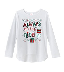 Mix & Match® Girls' 2T-6X Long Sleeve Always On The Nice List Tee