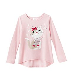 Mix & Match® Girls' 2T-6X Long Sleeve Snowflake Kitten Tee
