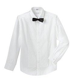 Calvin Klein Boys' 8-20 Tuxedo Shirt with Bow Tie