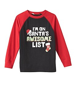 Mix & Match Boys' 2T-7 Long Sleeve Santa's Awesome List Tee