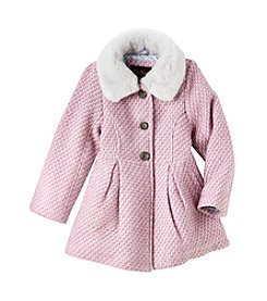 Jessica Simpson Girls' 4-6X Fur Collar Tweed Dress Coat