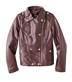 Jessica Simpson Girls' 7-16 Faux Leather Bomber Jacket