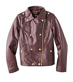 Jessica Simpson Girls' 7-16 Faux Leather Bomber Jacket
