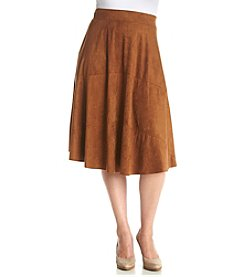Relativity® Plus Size Suede Midi Skirt