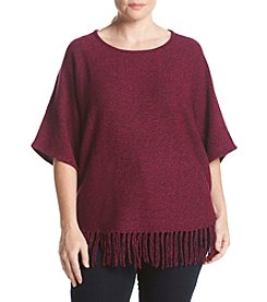 Relativity® Plus Size Marl Fringe Sweater