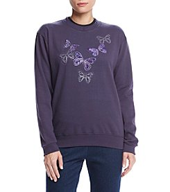 Breckenridge® Crew Neck Tree Amethyst Butterflies Fleece