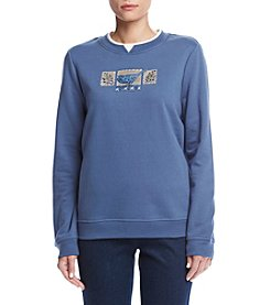 Breckenridge® Crew Neck Indigo Bluebirds Fleece