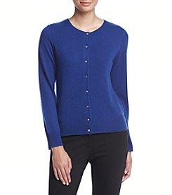 Premise Cashmere® Solid Crewneck Cardigan Sweater