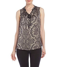 AGB® Lace Print Tie-Neck Tank