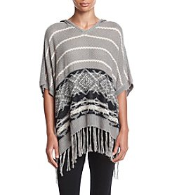 Oneworld® Border Print Hooded Poncho