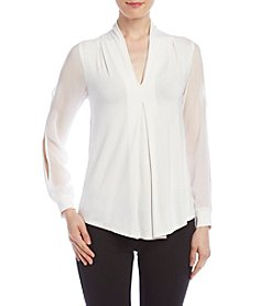 Cupio Shawl Collar Pleated Top