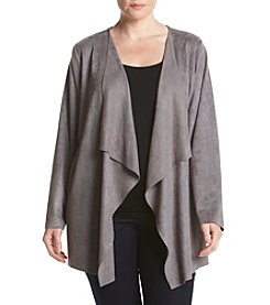 Cupio Plus Size Drape Front Open Jacket