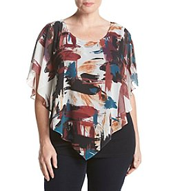 AGB® Plus Size Brush Stroke Print Popover Top