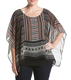 AGB® Plus Size Mixed Print Top