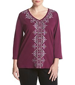 Alfred Dunner® Plus Size Veneto Valley Scroll Print Top