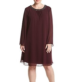 S.L. Fashions Plus Size Beaded Neckline Dress